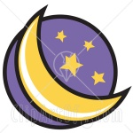 15915-Crescent-Moon-And-Stars-In-The-Night-Sky-Clipart-Illustration